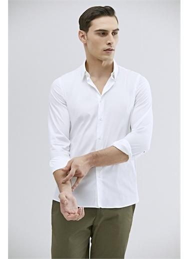 Tween Tween Slim Fit Gri Düz Gömlek Beyaz